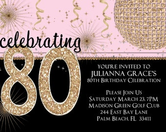 Gold Glitter 80th Birthday Invitation Any Age Adult Pink Printable Invite
