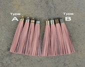 Indian Pink Leather (Cowhide) TASSEL in 12mm Dome-shaped Cap (Type A) or Lined Cap (Type B)- Pick your tassel cap