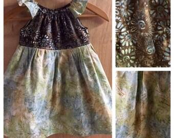 Batik Peasant Dress, size 3t
