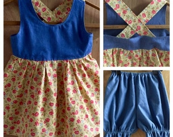 Boho Summer Dress with Bloomers, size 3t