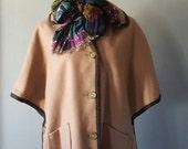 Vintage Wool Button Down Button Sides  Short Sleeve Poncho, Cape Size L