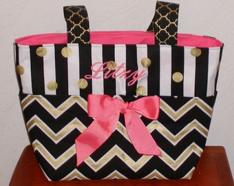 Diaper bag, handbag, purse, book bag..Coral N Black Chevron with Name..Customize to match your carseat canopy(see fashionfairytales).