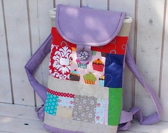 Pink beige teal blue patchwork backpack, children bag, mini backpack rucksack, girl bag, canvas kid backpack