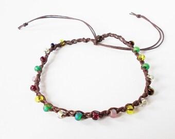 brown anklet, adjustable purple green ankle bracelet, seed bead crochet anklet, boho surfer style, festival jewelry, beachwear, gift for her