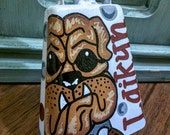 Adult Size White Glitter Bulldog Hand Painted Cowbell