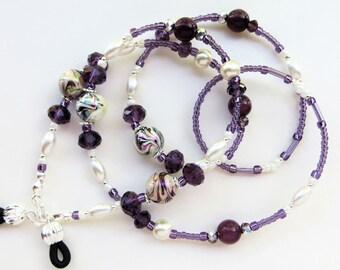 PURPLE  ELEGANCE- Handmade Beaded Eyeglass Lanyard/ Eyeglass Chain-  Cat's Eye Beads, Glass Pearls, and Sparkling Crystals