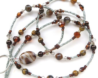 ELEGANT AGATE DESERT- Beaded Id Lanyard- Agate Pendant, Striped Agate and Tigers Eye Gemstones, & Sparkling Crystals (Magnetic Clasp)