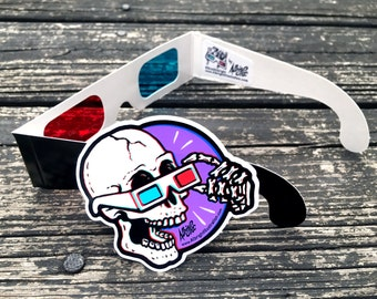 3D Glasses with Skull Sticker - Red/Blue 3D anaglyph starter kit - Free Shipping in the US