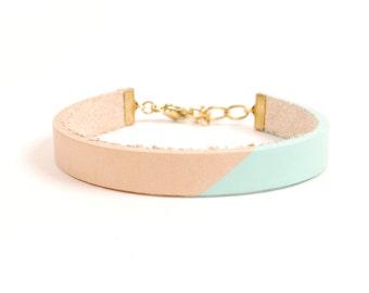 Wide Leather Bracelet in Natural with Seafoam | BANDERA