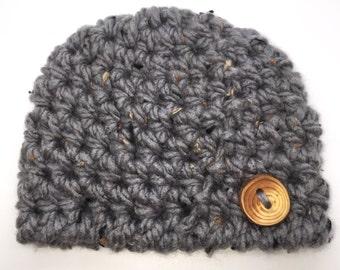 Chunky Baby Boy Beanie, Tweed Crochet Baby Hat, Newborn Baby Hat, Baby Boy Hat, Baby Photo Prop, Newborn Beanie, Child Hat, Toddler Hat