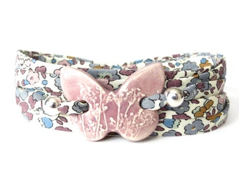 Ceramic butterfly bracelet in mauve, glazed clay charm, ceramic jewellery, birthday gift for young mom, floral fabric cord