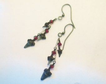 Ruby Shark Tooth Earrings - Black and Blood Red - Sterling Silver