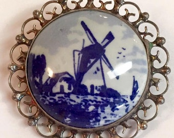 Vintage Sterling Silver Delft Blue Porcelain Windmill Brooch
