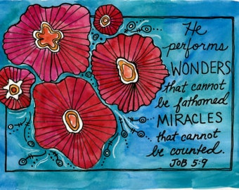 Job 5 He Performs Wonders Bible Verse Illustrated Watercolor Print