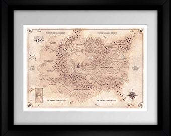 Land of Oz Map - The Wizard of Oz - Sepia - Home Decor Art Poster