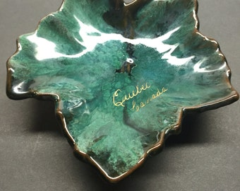 Vintage Mc Master Canadian Maple Leaf Green Gold Brown Quebec Footed Dish