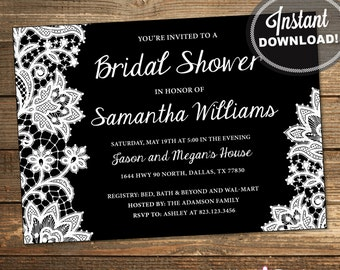 Lace Bridal Shower Invitation, Wedding Shower Invitation, Lace, Black, White, Printable File (INSTANT DOWNLOAD) IDS1008