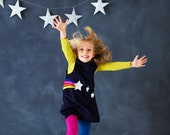 star burst navy pinafore glitter dress