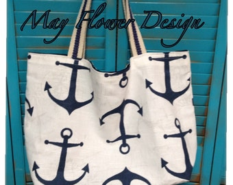 Anchor Beach Tote Bag / Large Nautical Tote / Navy Blue Anchor Tote