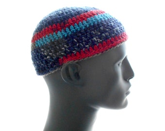 Wool Kufi Hat, Crochet Striped Beanie, Men's Hat, Women's Hat, Medium Size