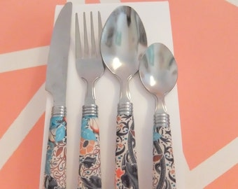Autumnal Tribal Print Decoupaged Cutlery Set