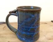 Large Pottery Mug, Ceramic Coffee Mug, Handmade Blue Mug, Thumb Rest Pottery Mug, Lauren Bausch