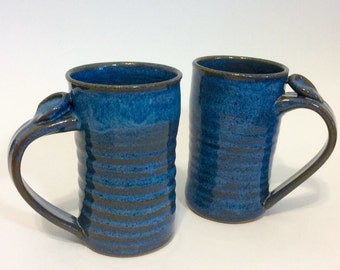 Extra Large Coffee Mug, Tall Ceramic Mug, Stoneware Pottery Tankard with Thumb Rest, Blue