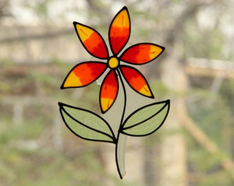 Flower- stained glass window decoration - handmade sticker / decal - Mirror decoration -  suncatcher - home decoration