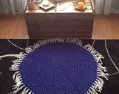 Crochet Chakra Meditation Mat,Crown Chakra,Prayer Rug,Knit Rug,Crochet Mandala,Spirituality,Wool Acrylic Yarn,Fringe,Grape Purple,Circle