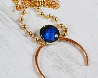 Labradorite Arc Necklace, Gold Filled Labradorite Necklace, Long Gold Boho Necklace, Gemstone Half Moon Necklace, Statement Necklace