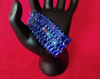 Tila and blue crystal cuff bracelet
