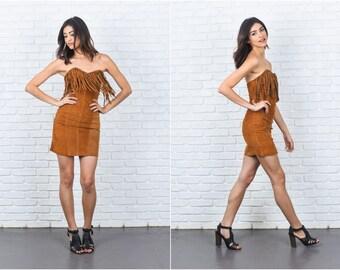 Vintage 80s Suede Fringe Dress Sweetheart Wiggle Mini leather XXS 7348 vintage dress 80s dress suede dress fringe dress mini dress xxs dress