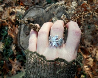 Leaf Ring - Woodland Leaf Ring - Real Leaf Ring - Elven Leaf Ring - Silvan Leaf - Artisan Handcrafted Recycled Fine Silver - Botanical Ring