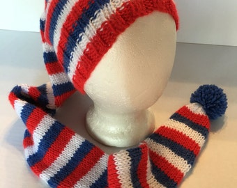 Stocking Cap Handknitted Red White Blue Super Soft 43 inches long