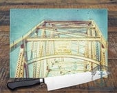 Glass Cutting Board - Sagamore Bridge Cape Cod   Vintage Teal Vacation Beach House Decor   Small or Large Kitchen Art for Your Countertop