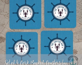 Coaster Set   Boston Mass   Lobster Ship Wheel Beach House Decor   Set of 4 Cork Back   Options at Checkout