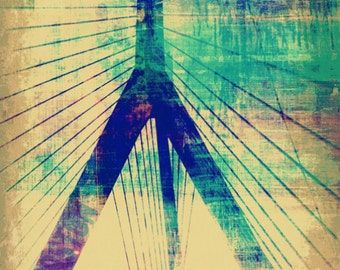 Zakim to the Sky | Boston Zakim Bridge City Skyline | At Checkout, Choose Lustre Print or Gallery Wrapped Canvas