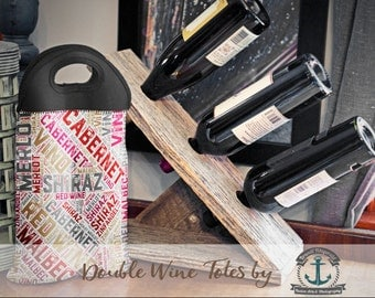 BYOB Wine Tote   Red Wine Typography   Two Bottle Neoprene Wine Carrier    Bar Accessory   Custom Available