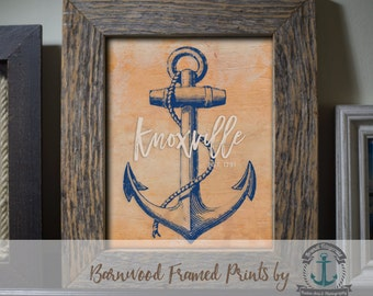 Knoxville Framed Print in Reclaimed Barnwood Anchor Style - Handmade Ready to Hang | Size & Price via Dropdown