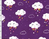 Showery Clouds on Purple (Rainbow) from Michael Miller's Pitter Patter Collection