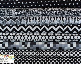 Black and White Remix Bundle By Robert Kaufman - Choose Your Cut  (8 Fabrics)