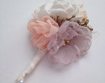 Boutonniere - Fabric Flower Boutonniere - Dusty Purple, Peach and Gold - Fabric Wedding Flowers, Groom's Boutonniere, Pale Dusty Purple
