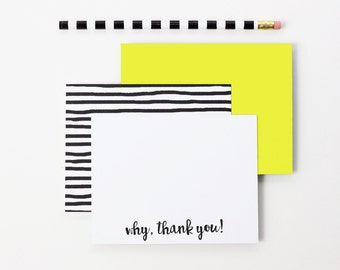 Bridal Thank You Notes Black and White Stripe Yellow Stationary Hostess Gifts Cute Stationery Couples Thank You Cards Gifts for Mothers Day