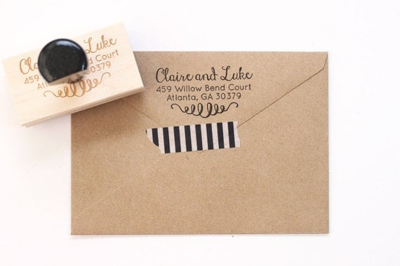 Return Address Stamp Wedding Invitation Stamp Personalized