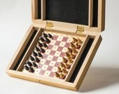 Unused mini chess set wooden, small brown black chess piece with chessboard vintage, father gift chess game vintage, portable travel chess