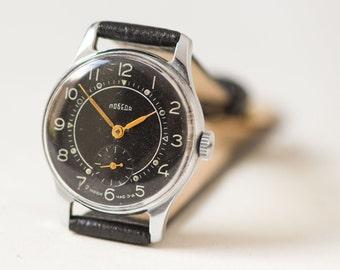 Classy gent's watch Pobeda, black face mid century men's wrist watch, dress watch him, rare men's watch gift, premium leather strap new