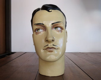 French Deco Male Plaster Mannequin Head