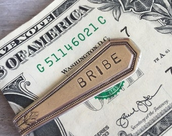 "Upcycled Spoon Money Clip Stamped ""Bribe"" Wallet Groomsmen Gift (0682-LV)"