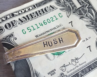 "Upcycled Spoon Money Clip Stamped ""Hush"" Wallet Groomsmen Gift (2634-LV)"