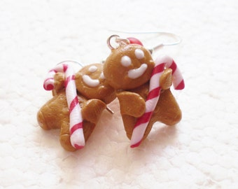 Gingerbread Man Earrings. Polymer Clay.